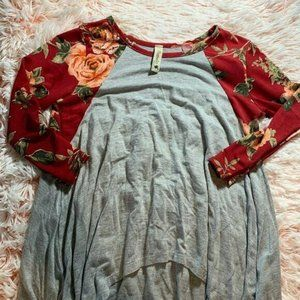 Pomelo Kids Floral Sleeve Girls Size XS Blue Red T